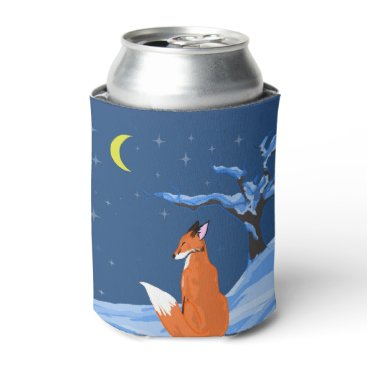 Beach Themed Winter Night Fox Can Cooler