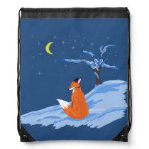 Winter Night Fox Drawstring Bag