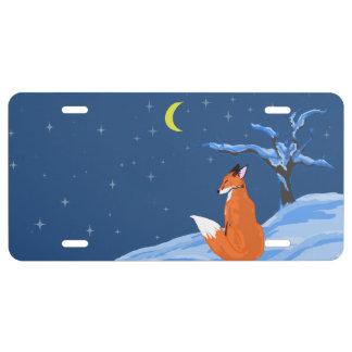 Winter Night Fox License Plate