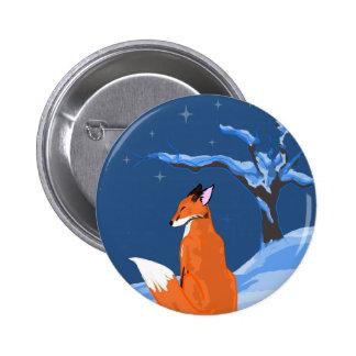 Winter Night Fox Pinback Button