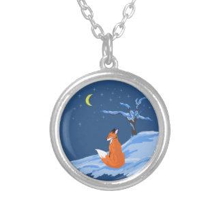 Winter Night Fox Round Pendant Necklace