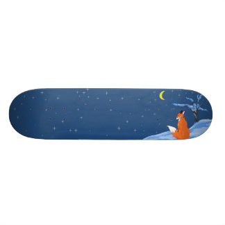 Winter Night Fox Skateboard