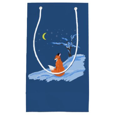 Beach Themed Winter Night Fox Small Gift Bag