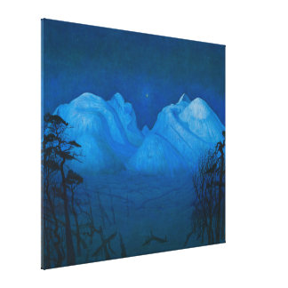 Winter Night in the Mountains Canvas Print