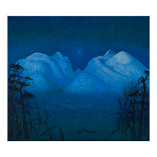 Winter Night in the Mountains Poster
