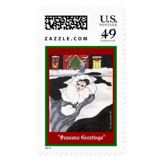 Winter-night-ladies-shopping in the city postage stamps