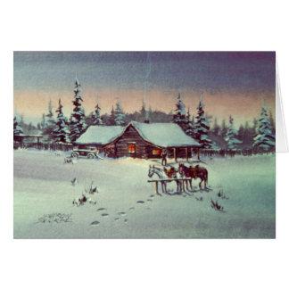 WINTER NIGHT LOG CABIN by SHARON SHARPE Card