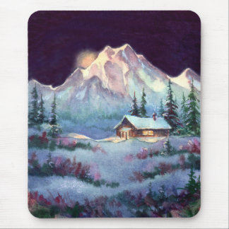 WINTER NIGHT LOG CABIN by SHARON SHARPE Mouse Pad