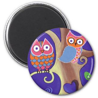 Winter Night Owls in Love 2 Inch Round Magnet