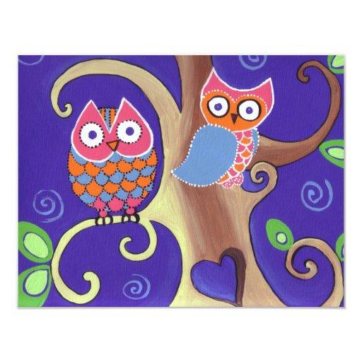 Winter Night Owls in Love 4.25x5.5 Paper Invitation Card