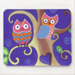 Winter Night Owls in Love Mouse Pad