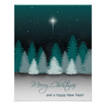 Winter Night with Star of Bethlehem - Poster Print