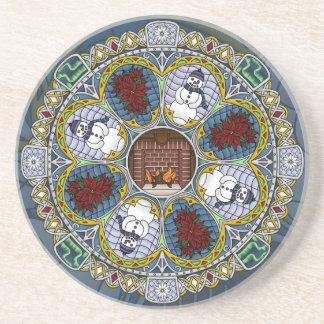 Winter Nouveau Sandstone Coaster
