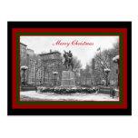 Winter NYC Union Square B & W Merry Christmas Postcard