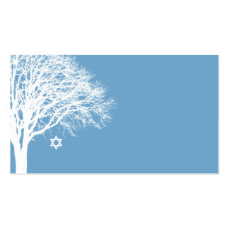 Winter Oak Tree Blue White Bat Mitzvah Double-Sided Standard Business Cards (Pack Of 100)