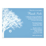 Winter Oak Tree Blue White Bat Mitzvah Invitations Card