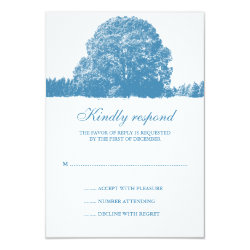Winter Oak Tree Wedding Response Card 3.5