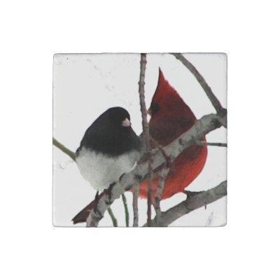 Winter Odd Couple Stone Magnet