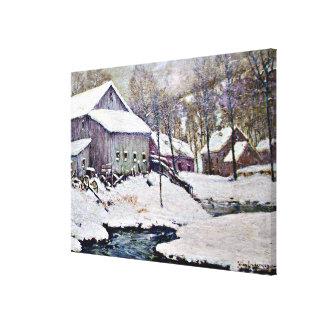 Winter on the Farm - Julian Onderdonk painting Canvas Print