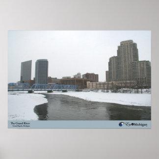 Winter on the Grand River - Grand Rapids, Michigan Poster