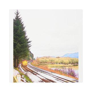 Winter on the Tracks Metal Print