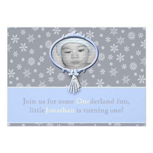 Winter One-derland Boy 1st Birthday Invites