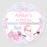 Winter One-derland First Birthday Snowman Mittens Classic Round Sticker