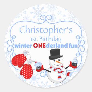 Winter One-derland First Birthday Snowman Mittens Sticker