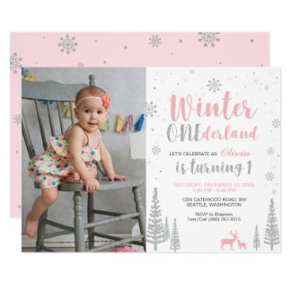 Winter Onederland 1st Birthday Invitation - Girl