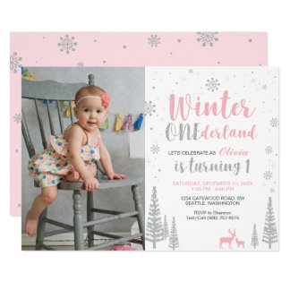 winter onederland 1st birthday invitation girl - Winter Onederland Party Invitations