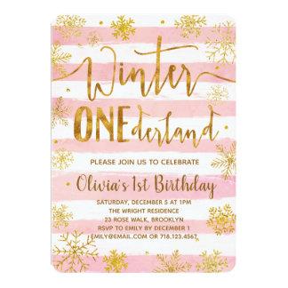 Winter ONEderland 1st Birthday Invitation Pink