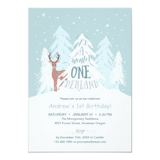 Winter Onederland 1st Birthday Party Invitation