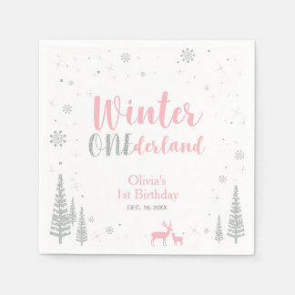 Winter Onederland 1st Birthday Party Paper Napkin
