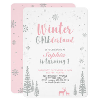Winter Onederland 1st, First Birthday, Girl Card