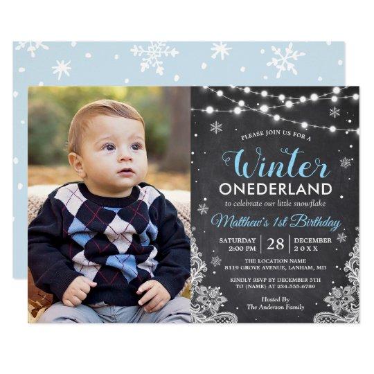 Winter onederland baby boy first birthday photo invitation zazzle winter onederland baby boy first birthday photo invitation filmwisefo