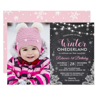 Winter ONEderland Baby Girl 1st Birthday Photo Card