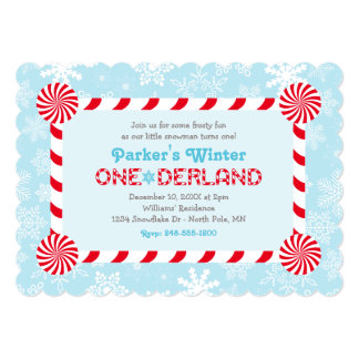 Winter ONEderland Birthday | Candy Cane Frame 5x7 Paper Invitation Card