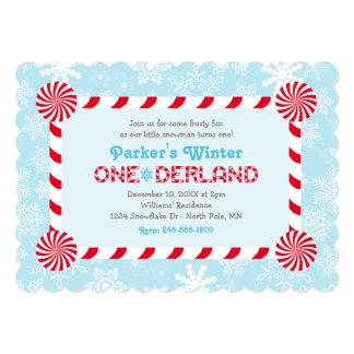 Winter ONEderland Birthday | Candy Cane Frame Custom Invitation