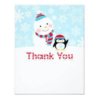 Winter ONEderland Birthday   Flat Thank You Note Card
