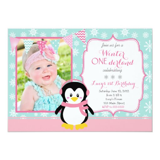 "Winter ONEderland Birthday Invitation 5"" X 7"" Invitation Card"