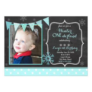 Winter ONEderland Birthday Invitation Card