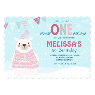 Winter ONEderland birthday invitation Girl Pink
