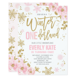 winter onederland birthday invitation pink gold - Winter Onederland Party Invitations