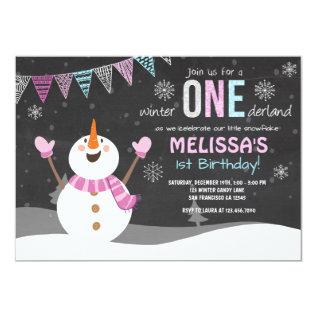 Winter Onederland Birthday Invitation Pink Silver at Zazzle
