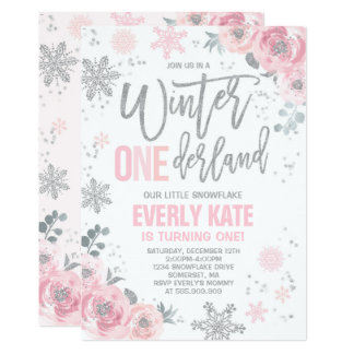 winter onederland birthday invitation pink silver - Winter Onederland Party Invitations