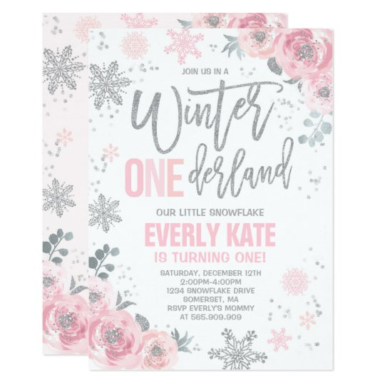winter onederland birthday invitation pink silver zazzle com