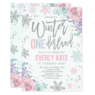 Winter ONEderland Invitations 1st Birthday Winter Wonderland Purple Blue Silver First Birthday 5x7