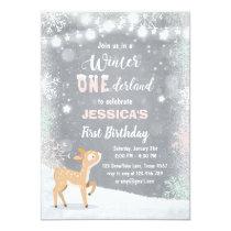 Winter Onederland birthday invite Mint pink deer