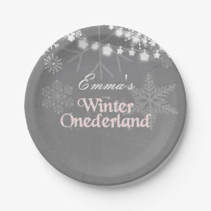 Winter onederland Birthday Paper Plates Snowflakes  sc 1 st  Zazzle & Snowflake Plates | Zazzle