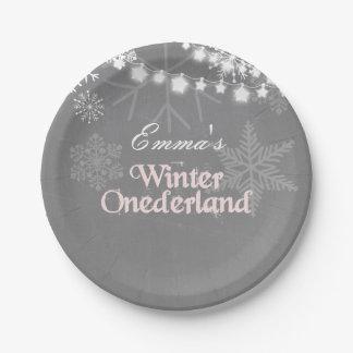 Winter onederland Birthday Paper Plates Snowflakes